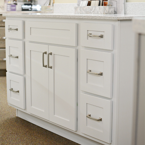 white bathroom vanity, white cabinetry, bathroom vanity, cabinet showroom, countertop showroom