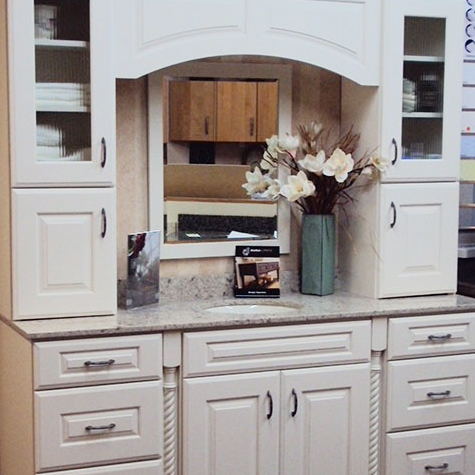 white bathroom cabinetry, white bathroom vanity, bathroom countertop, cabinet showroom, DuraSupreme bathroom vanity, DuraSupreme bathroom cabinets