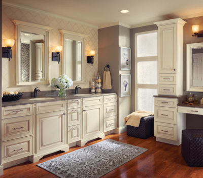 White Bathroom Vanity, Gray Bathroom Countertop, Double Bathroom Vanity, Bathroom Cabinetry