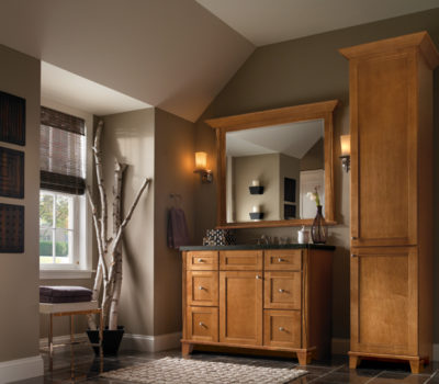 Dark Bathroom Vanity And Linen Cabinet, Bathroom Vanity, Bathroom Cabinetry