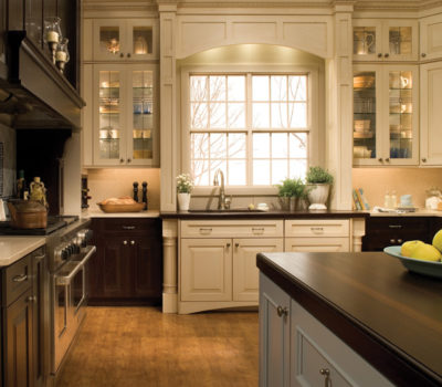 Kitchen With White Cabinetry And Dark Oak Cabinetry, Espresso Cabinetry, Antique White Cabinetry, DuraSupreme Kitchen Cabinetry