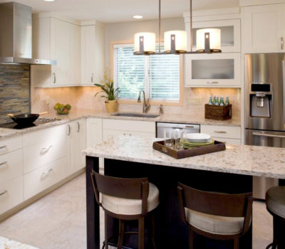 Transitional-style, Open Floorplan Kitchen Remodel With White Painted Dura Supreme Cabinetry