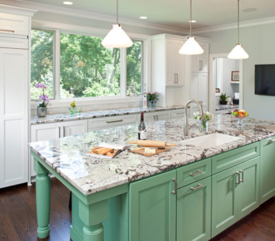 Kitchen With Mint Green Island And White Cabinetry, Kitchen Design, Open Kitchen Design, Island Installation