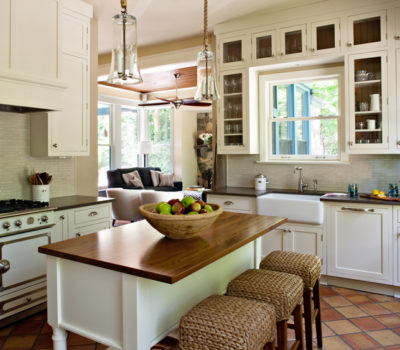 Cottage-style Kitchen With White And Glass Plane Cabinets, DuraSupreme Kitchen Cabinetry, Cabinet Showroom Western MA
