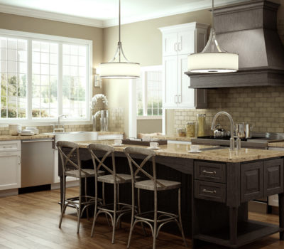 Kitchen With Dark Weathered Cabinets And White Cabinets, DuraSupreme Kitchen Cabinets, Kitchen With Large Center Island, Kitchen Design