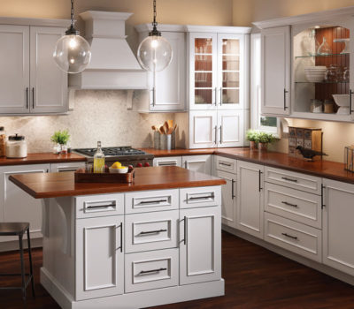Kitchen With Maple Countertops And White Cabinets, White Kitchen Cabinets, Maple Kitchen Countertops