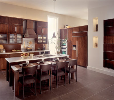 Kitchen With Center Island And Cherry-colored Cabinetry, Cherry Kitchen Cabinets, Cabinetry, Cabinet Showroom