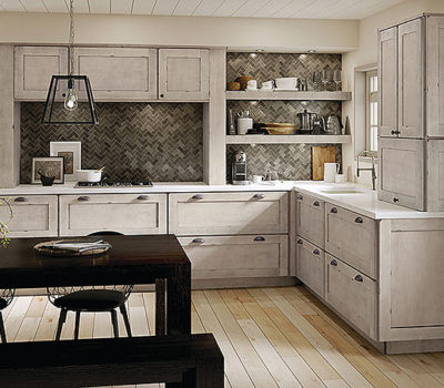 Maple Kitchen In Aged Concrete, Light-colored Kitchen Cabinetry