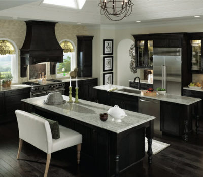 Kitchen With Double Islands And Black Cabinetry, Dark Kitchen Cabinetry, Kitchen Cabinet Showroom, Kitchen Countertop Showroom