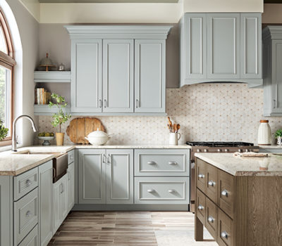 Open Kitchen With Blue Cabinetry And Dark Island, Kraftmaid Kitchen Cabinet, Kitchen Island, Kitchen Remodel Company
