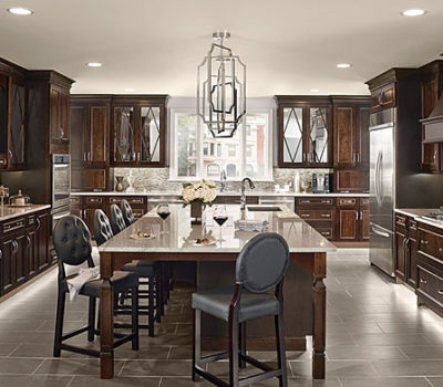 Maple Kitchen In Peppercorn, Kitchen With Dark-colored Cabinetry, Large Kitchen Island