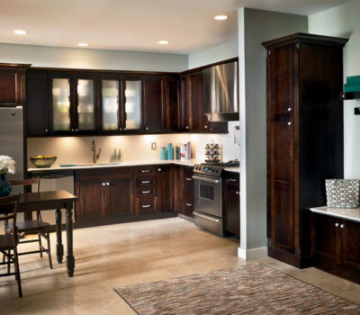 Contemporary Kitchen With Cherry Peppercorn Cabinetry And Stainless Steel Appliances