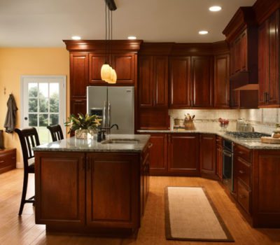 Kitchen With Center Island And Cherry Cabinetry, Kitchen Remodel, Dark Kitchen Cabinetry, Cabinet Showroom Western MA