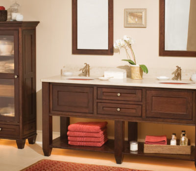 Dura Supreme Cabinetry Bathroom Furniture Shown With The Chapel Hill Panel Inset Cabinet Door In Cherry With The Chestnut Stained Finish.