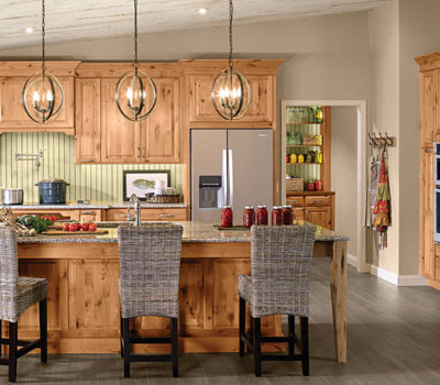 Kraftmaid Kitchen Island, Kitchen With Oak Cabinetry, Cabinet Showroom, Farmhouse Style Kitchen, Rustic Kitchen Cabinetry