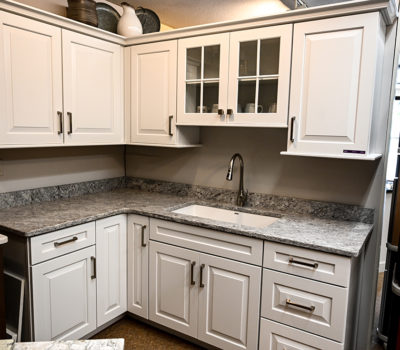 White Kitchen Cabinets And Countertop, White Kitchen Cabinets, Kitchen Cabinetry, Cabinet Showroom