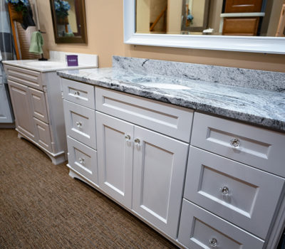 White Bathroom Vanity, Bathroom Vanity, Bathroom Cabinets, Cabinet Showroom In Western MA, Budget Cabinet Sales Showroom